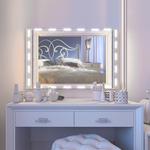 IMAGE Vanity Mirror LED Light, 12.5FT 75 LED Bulbs UL Safety Standard Make up Mirror LED Light Kit for Cosmetic Mirror with Dimmer Controller - White - Standard Vanity Lighting