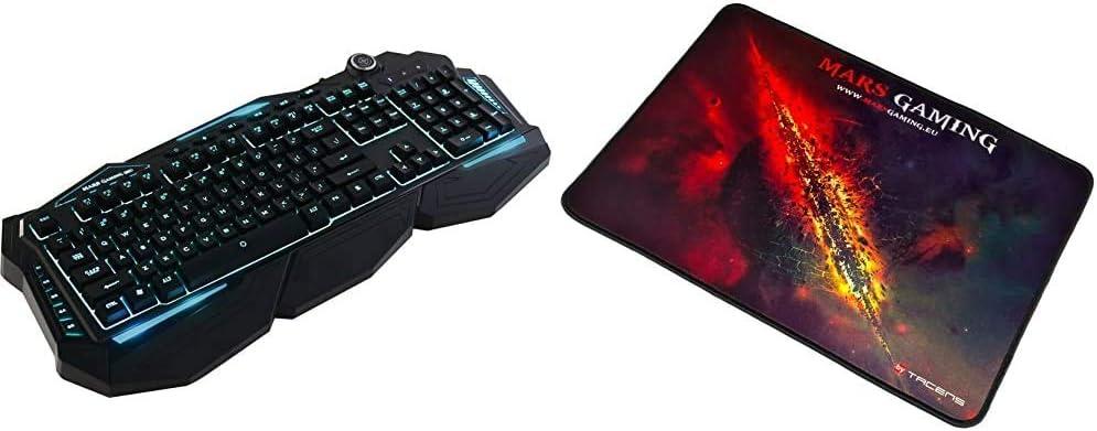 Mars Gaming MK3, Teclado híbrido-mecánico Gaming, español para PC, USB, Negro + MMP1 Alfombrilla Gaming para PC (Máxima Precisión con Cualquier Ratón, Base de Caucho Natural
