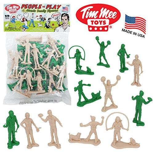 Tim Mee PEOPLE Play Figures: Green and Putty Color 24pc Playset - Made in - Baseball Figures Scale