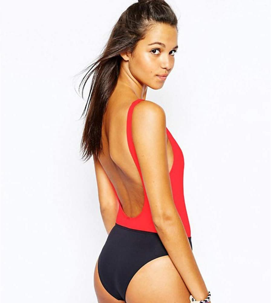 Womens Slim Swimsuit Red /& Black Stitching Vintage Sling Backless Vest Womens Bikini Swimsuit One-Piece Bikini Size : XL