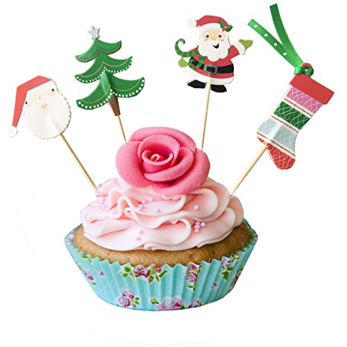 PARTYMASTER Christmas Party Decorations Decorations Lot of 48PCS Food Toothpicks Cupcake Muffin Toppers,Mixed Packaging