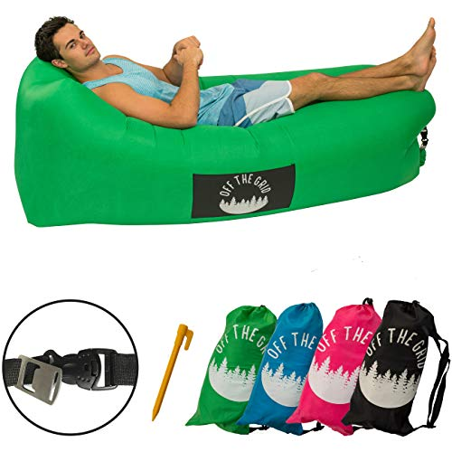 Off the Grid Inflatable Lounger - Air Sofa Wind Chair Hammock - Floating/Portable Bed for Beach, Pool, Camping, Outdoors Lazy Bag Cloud Couch (Green)