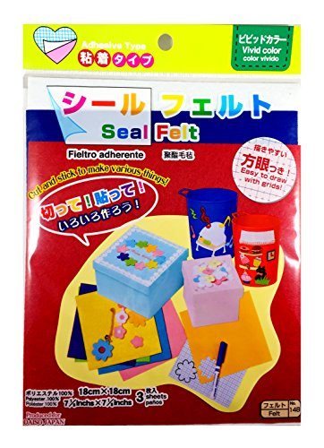 "Craft Felt Adhesive Sheets Bundle: 10 Pack (3.5"" x 3.5"") and 3 Pack (7.5"" x 7.5"") (White Red Blue) with Sticky Backs and Grid for Easy Drawing and Cutting"