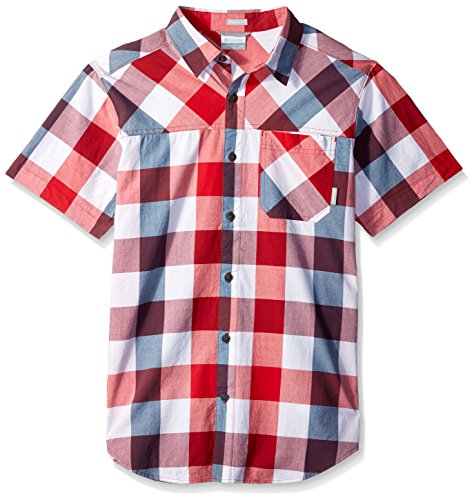 Columbia Men's Thompson Hill Yarn Dye Short Sleeve Shirt, red Spark Large Check, X-Large