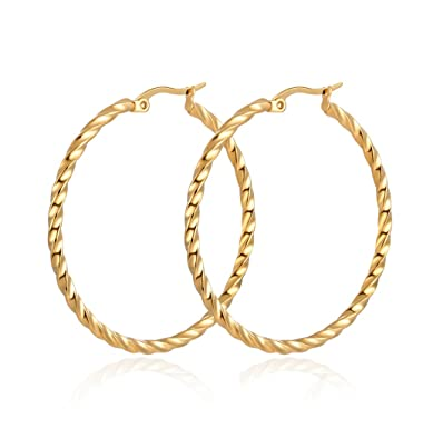 e9166a7001948 Yumay 9ct Yellow Gold Round Hoop Earrings,Large Fashion Earrings for  Women(Hand-Carved&Twisted style).