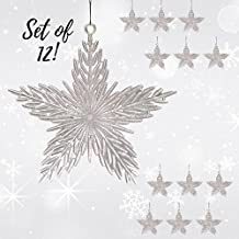 Star Christmas Ornaments - Pack of 12 Iridescent 6 inch Star Christmas Ornaments - Glitter Filled Acrylic - Hanging Stars - Shatterproof Ornaments