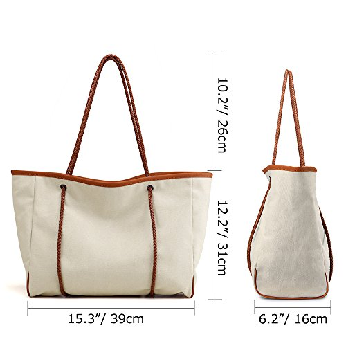 Travel Tote Creamy Beach Bag Large Basic Holiday Shoulder Spacious Handbag Bag Canvas Women Reusable white SAMSHOWS Summer SxPwYZqX0