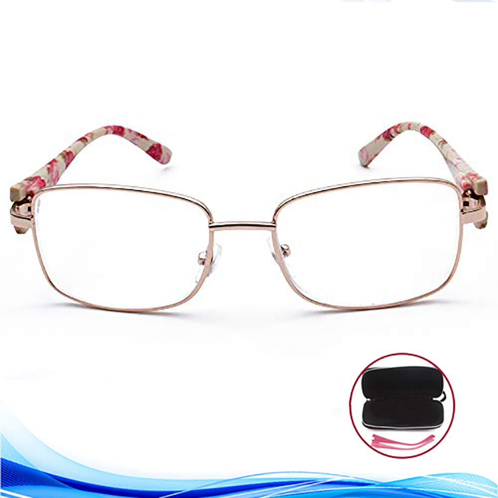 8ecb68a663dc Amazon.com  VVDQELLA Metal Rimmed Reading Glasses 1.00 Rose Gold with Soft  Case   Switching Leg for Women Elegant Read Eyeglasses  Health   Personal  Care
