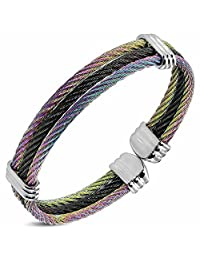 Urban Male Solid Stainless Steel Multi Colour Braided Wire Torque Bangle Bracelet