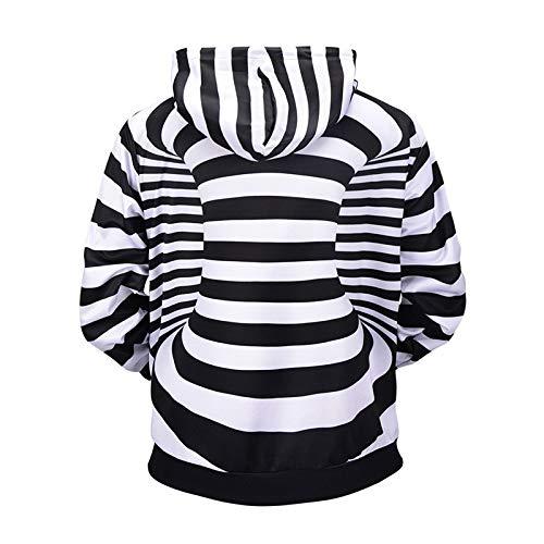 Cappuccio Tcly Donna fby Uomo Stampa Grandi Di Maglione Con Dimensioni Maglione Strisce Zebra 3d A992 L E Stereo x8d6q8Fwnr