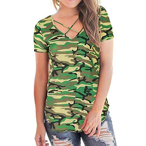Sunhusing Ladies Summer New Camouflage Print V-Neck Short Sleeve T-Shirt Cross-Bound Bandwidth Loose Top (2XL, Green)