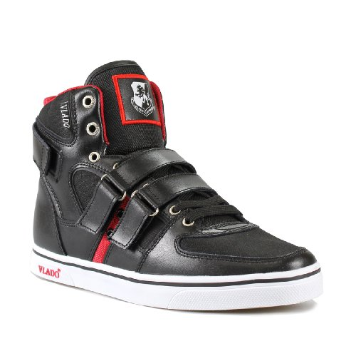 Vlado Footwear Men's Knight II Black/Red Leather Sneakers 10.5M
