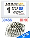 """1 3/4"""" Ring 304 Stainless Coil Roofing Nails 3.6M"""