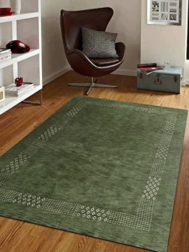 Rugsotic Carpets Hand Knotted Gabbeh Wool 8 x10 Area Rug Contemporary Green L00530