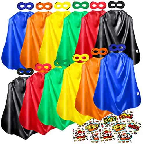 AIMIKE Superhero Capes, Kids Party Cape and Mask, 12 Sets with Superhero Sticker