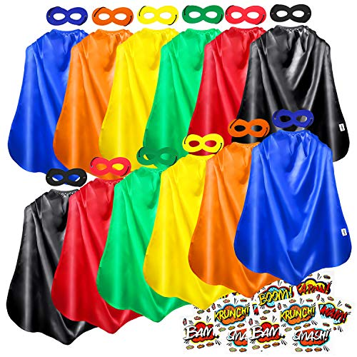 AIMIKE Superhero Capes and Masks, Kids Party Cape and Mask, 12 Sets with Superhero Sticker -