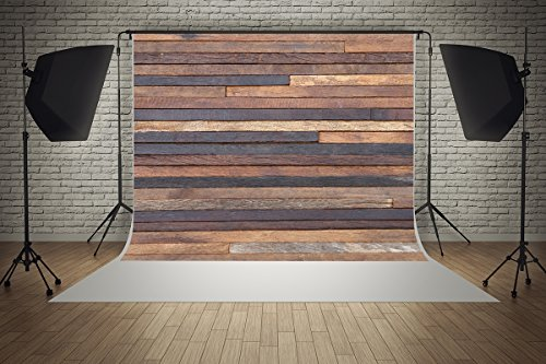 (7ft(W) x 5ft(H) Valentine's Day Backgrounds Brown Stripe Wood Wall Baby Shower Wedding Birthday Party Decorations Microfiber Photo Backdrop Studio Props)