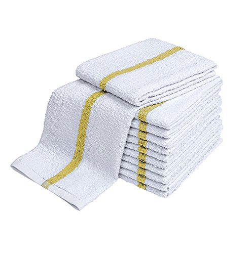 (Atlas 24-Pack YELLOW/ORANGE STRIPE Bar Mops 16x19 Full Terry Towels White 100% Cotton 28Oz Eco-Friendly with Free Sports Wash Cloth)