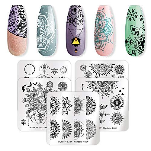 BORN PRETTY 5Pcs Nail Art Stamping Plates Set Spring Mandala Series Flower Floral manicuring Print Image Templates