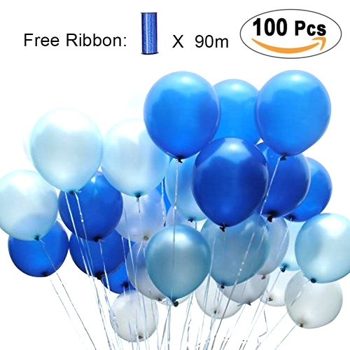 (PartyWoo Blue and White Balloons 100 pcs 12 inch Royal Blue Balloons Light Blue Balloons White Balloons Blue Balloons Latex Balloons for Boys Christening, Cinderella Party, Boys 1st)