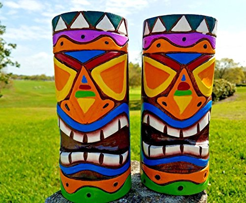 Set of (2) Handcarved 8″ Long Tropical Vibrant Color Solid Round Wood Totem Poles
