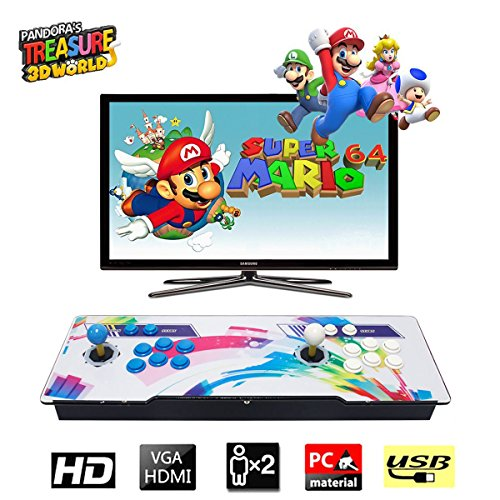 HAAMIIQII [2020 HD Retro Games] Pandora Treasure 3D Box Arcade Game Console 1920x1080 Full HD 2 Players Arcade Machine Support TF Card to Expand More Games for PC / Laptop / TV / PS4 (Rainbow)