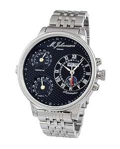 M. Johansson MoziaSSB - Reloj de caballero automático, XXL 55 mm, caja y correa de acero inoxidable, temperatura y humedad
