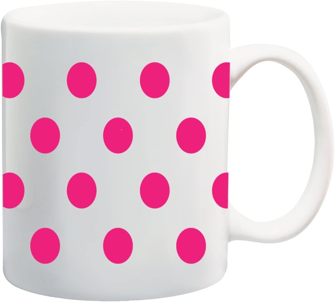 amazon com hot pink polka dot polka dots white background 11 ounce ceramic coffee mug tea cup by moonlight printing kitchen dining amazon com