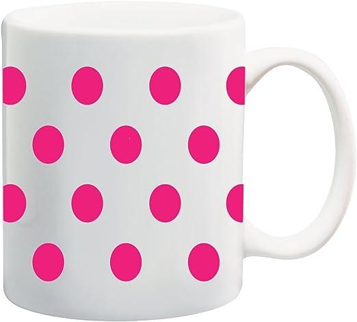 amazon com hot pink polka dot polka dots white background 11 ounce ceramic coffee mug tea cup by moonlight printing kitchen dining amazon com