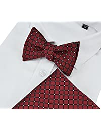 Heymei Men's Self Pre-tie Bowtie with Pocket Square Bow Tie Hanky Set THS02 (Crimson)