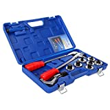 Ridgeyard Pro Hvac Swaging Kit Air Conditioning Refrigeration System Copper Tube Expander Tool W/ 7pc Pipe Expander 3/8''-1 1/8''