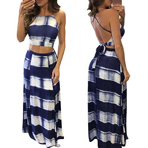 Lisli Women's Summer Strip Tie Up Gradual Backless Crop Top and Skirt 2 Pieces Set Maxi Beach (Backless Skirt)