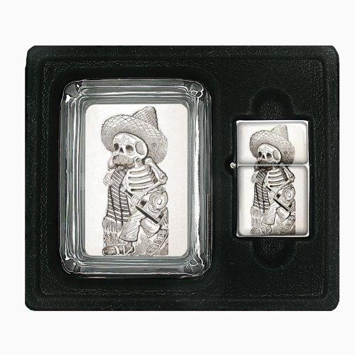 Day Of The Dead Antique Image Glass Ashtray Oil Lighter Gift Set D-184