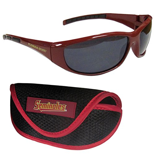 NCAA Florida State Seminoles Unisex Wrap Sunglasses & Sport Case, Red, - Fsu Sunglasses