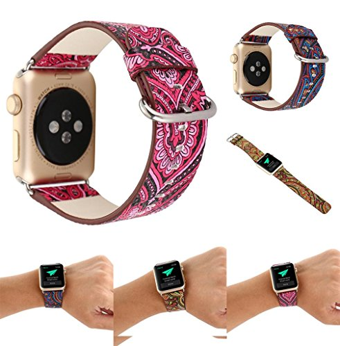 For Apple Watch Band,Voberry Premium Leather Replacement Strap for Apple Smart Watch 38mm
