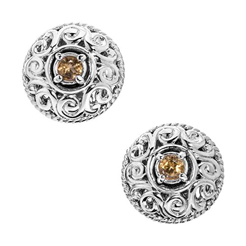 Carolyn Pollack Sterling Silver Yellow Citrine November Birthstone Button Earrings