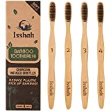 Isshah Biodegradable Organic Charcoal Infused BPA Free Bristles Natural Bamboo Toothbrush, Pack of 4 (Soft Bristles)