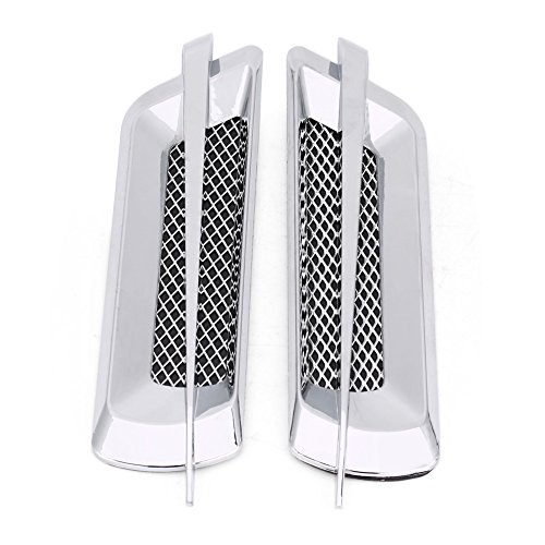 (2Pcs Universal Car Side Air Flow Vent Fender Cover,Keenso Intake Grille Duct Decoration Sticker (chrome silver))