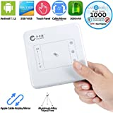 Portable Projector,CACACOL T13 Touch Panel Android Smart Mini Projector Built-in Batteries LiveTV.Direct Services (White,2G/16G)