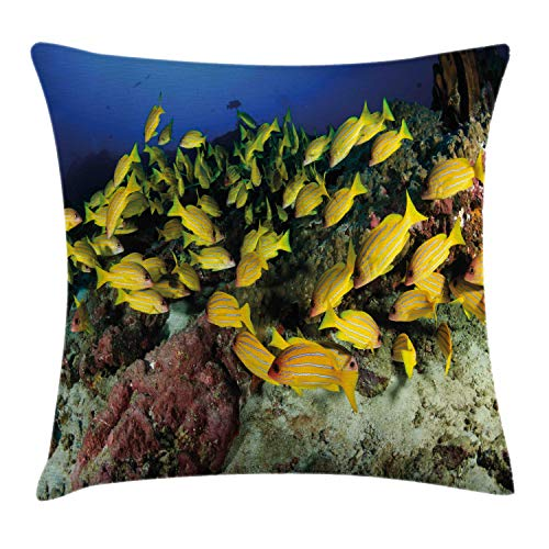 Ambesonne Sea Life Throw Pillow Cushion Cover, Tropical Fish on a Coral Reef Hawaiian Ocean Floor Environment Animals in World, Decorative Square Accent Pillow Case, 28 X 28 Inches, Multicolor