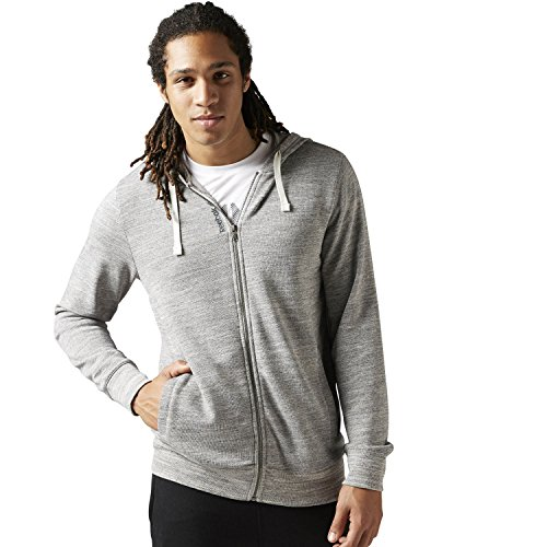 Reebok BS2638 Men's Us Elements Marble Melang Full Zip, Chalk - M