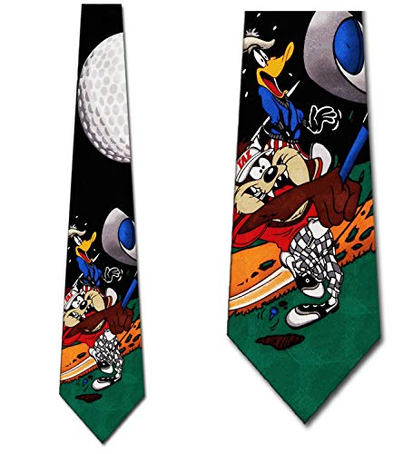 Taz and Daffy Golf Tie - Mens Looney Tunes Necktie ()