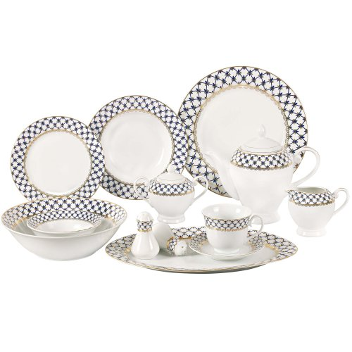 Lorren Home Trends 57-Piece Porcelain Dinnerware Set with Cobalt Blue Lattice Border, Service for 8 (Dinnerware Fine Porcelain Set)
