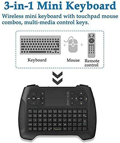 Mini Clavier sans Fil, 2,4G Clavier Portable avec pavé Tactile Souris pour PC/Ordinateur Portable/Smart TV/Raspberry Pi 2/3/Kodi//Android TV Box/HTPC/Windows, Linux, Mac