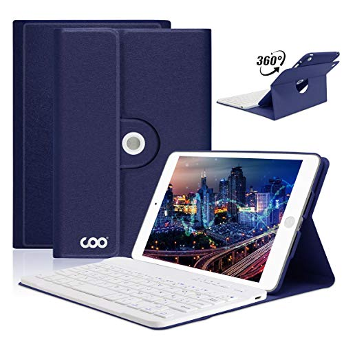 .7 (2017) for New iPad 2018 (6th Gen) iPad Pro 9.7 iPad Air 2&1-Thin&Light-360 Rotatable-Wireless Bluetooth Keyboard and Slim Shell Magnetic Cover with Apple Sleep/Wake(Dark Blue) ()