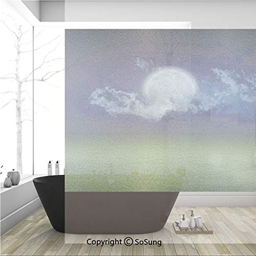 - 3D Decorative Privacy Window Films,Grass Field Sports Stadium Under Cloudy Night Sky with Moon Lunar Mystic,No-Glue Self Static Cling Glass Film for Home Bedroom Bathroom Kitchen Office 36x36 Inch