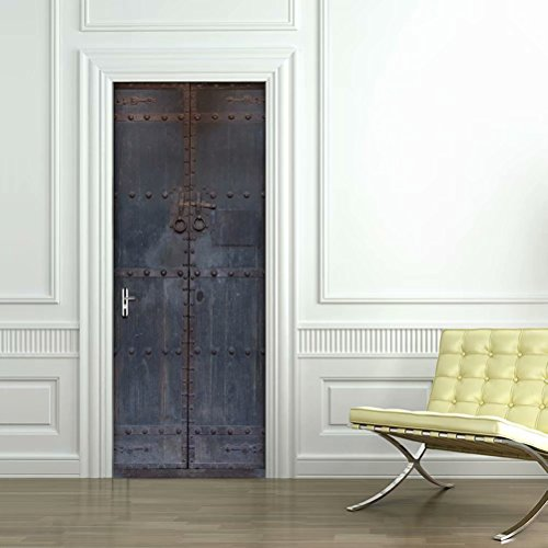 Tifege 3D Door Sticker Wall Decals Mural Wallpaper Old Wooden Door DIY Art Home Decor Poster Decoration 30.3x78.7 DM045