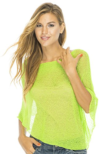 Evening Sweater Top - Back From Bali Womens Sheer Poncho Shrug Bolero, Lightweight Summer Shrug Pullover Sweater Lime