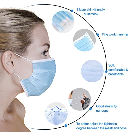 Pcs 3-ply 60 Disposable Face Individually Earloop Packed Mask