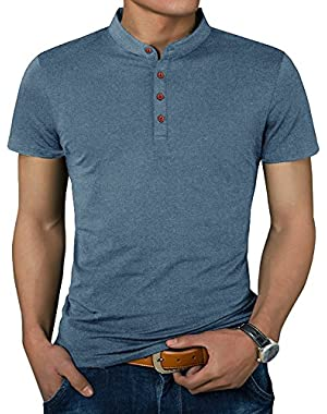 Men's Casual Slim Fit Short Sleeve Henley T-Shirts Cotton Shirts